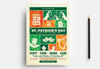 St. Patrick'S Day Flyer Layout with Grid Design