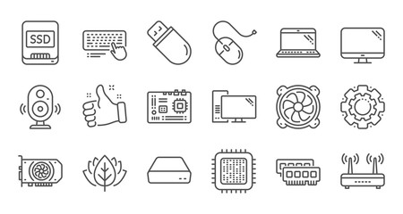Computer device line icons. Motherboard, CPU and Laptop. SSD memory linear icon set. Quality line set. Vector