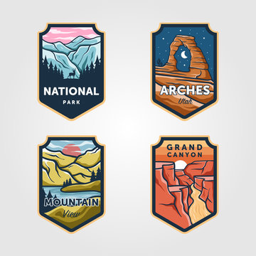 Set of vector national park outdoor adventure vintage logo emblem illustration designs