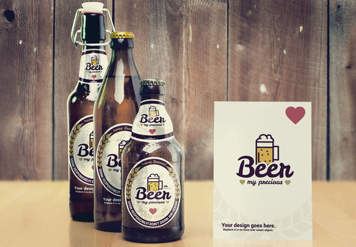 Various Beer Bottle Size Mockup with Menu