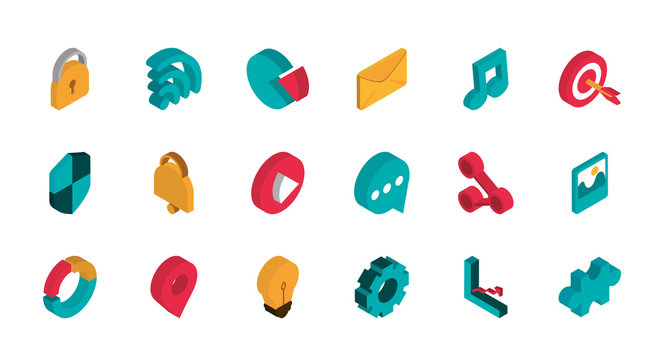 advertising commerce marketing icons set isometric