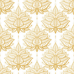 Ethnic Oriental Mehndi Lotus Flower Symbol Seamless Pattern. Golden Ornamental Floral Pattern Vector Background
