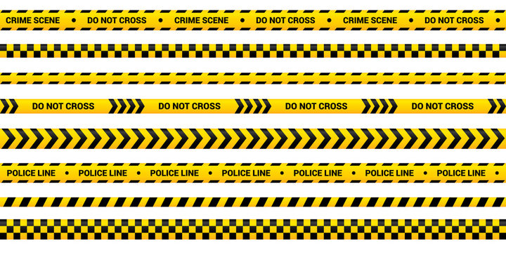 Police tape set, yellow warning strip in 8 different design. Vector police line template for crime area, accident, murder. Yellow border with warning text.