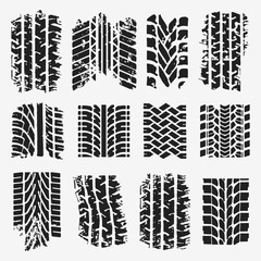 TIRE TRACK GRUNGE VECTOR SET