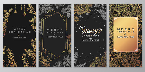 Christmas Poster set of Christmas Background with golden branches of christmas tree.