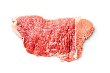 Raw veal schnitzel. Raw meat.