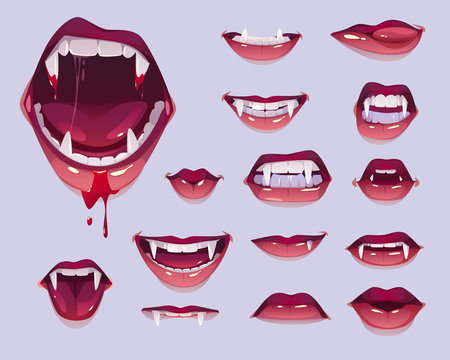 Vampire mouth with fangs set. Closed, open female red lips with long pointed canine teeth and bloody saliva express different emotions isolated on grey background Cartoon vector illustration, clip art