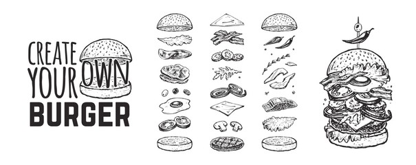 Fototapeta Burger menu. Vintage template with hand drawn sketches of a hamburger and its ingredients. Engraving style icons - bun, cutlet, cucumbers, tomatoes and cheese. obraz