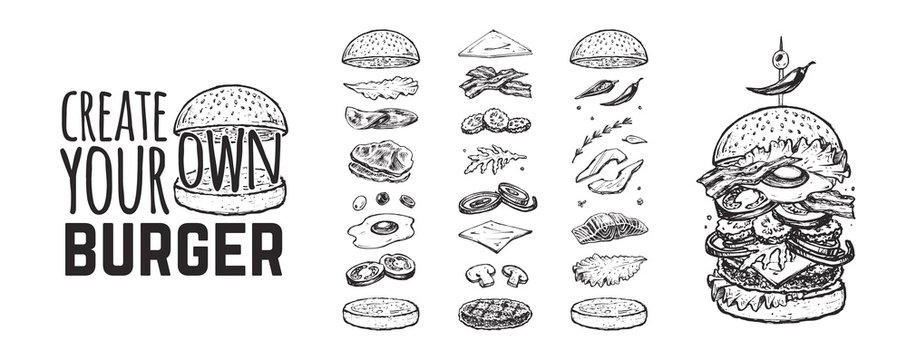 Burger menu. Vintage template with hand drawn sketches of a hamburger and its ingredients. Engraving style icons - bun, cutlet, cucumbers, tomatoes and cheese.