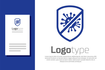 Blue Stop virus, bacteria, germs and microbe icon isolated on white background. Antibacterial and antiviral defence, protection infection. Logo design template element. Vector Illustration