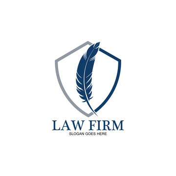 feather law firm  logo icon design template-vector