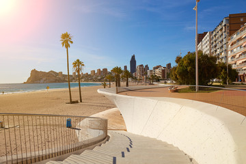Poniente beach, panorama of Benidorm with skyscrapers, palm trees and a beautiful promenade, Spain Wall mural