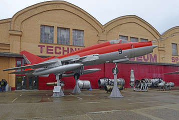 Technik Museum Speyer - The Sukhoi Su-22 (NATO reporting name: Fitter) is a Soviet variable-sweep wing fighter-bomber, Germany