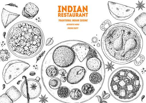 Indian food illustration. Hand drawn sketch. Vector illustration. Menu background.