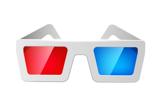 Vector realistic cinema 3d glasses red and blue