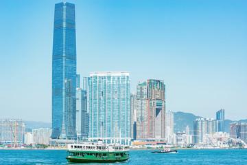 City view of Kowloon peninsula at day time. Hong Kong.