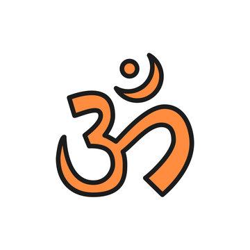 Om or Aum Indian sacred sound symbol, mantra flat color line icon.