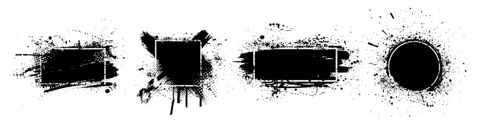 Photo sur Aluminium Forme Black splashes grunge with frame. Dirty artistic design elements, boxes, frames for text. Black splashes isolated on white background. Set of black paint, ink brush strokes, brushes, lines. Vector
