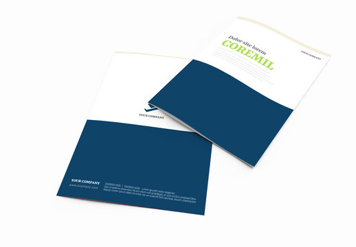 Bifold Brochure Layout with Navy and Green Accents