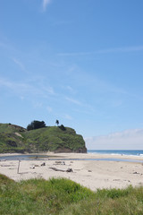 Scenic view of a remote central California beach along the famous highway 1 on a nice summer day