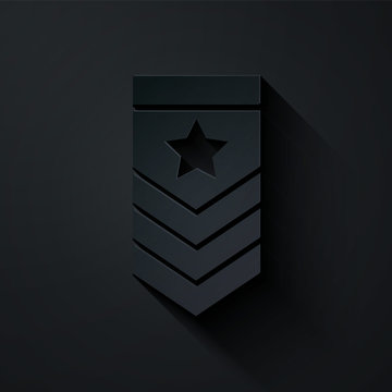 Paper cut Chevron icon isolated on black background. Military badge sign. Paper art style. Vector Illustration