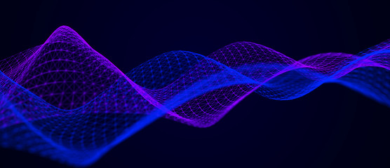 Fotobehang - Wave of musical sounds. Abstract background with interweaving of dots and lines. 3D rendering.