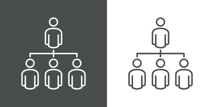Símbolo organización. Icono plano lineal grupo de personas en diagrama de flujo en fondo gris y fondo blanco