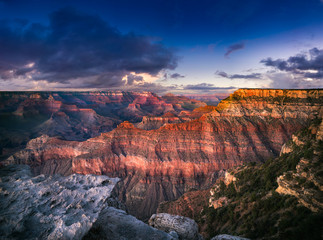 Grand Canyon illuminated by twilight at dusk