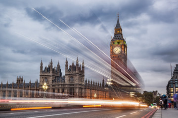 Fototapete - Big Ben in the evening, London, United Kingdom