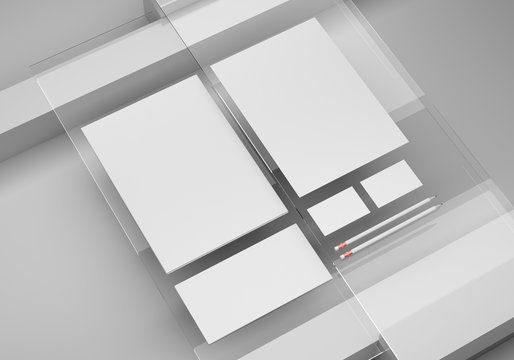 Base white stationery mockup template for branding identity on a glass background for graphic designers presentations and portfolios. 3D rendering.