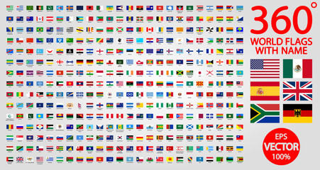 All official national flags of the world . circular design. 360 world flags with name Fotomurales