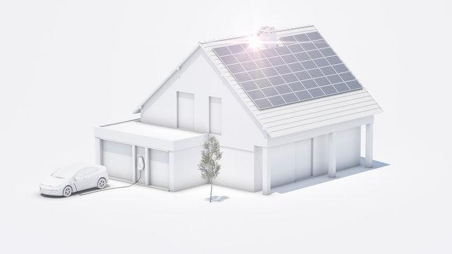 Modernes Elektroauto zu Hause Strom tanken greyshade 3d illustration