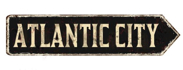 Atlantic city vintage rusty metal sign