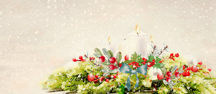 Christmas time. Watercolor Advent wreath
