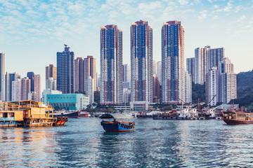 Evening view of the harbor in Aberdeen Bay. Aberdeen. Hong Kong.