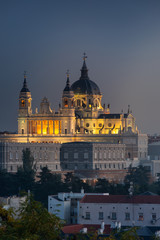 Printed roller blinds Madrid Far look from the Almudena Cathedral in Madrid, Spain.