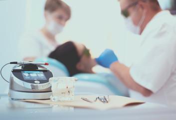 Dental equipment tools dentist medicine on desk