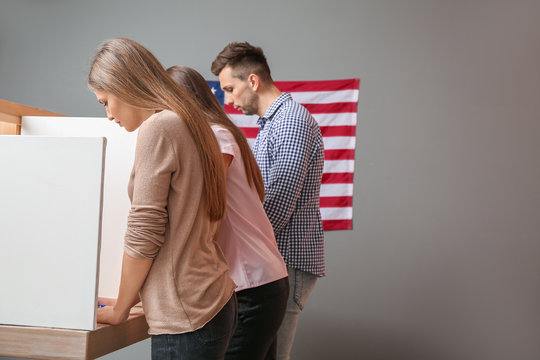 People voting at polling station in USA