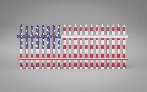 Fence in colours of the flag of the United States of America 3d illustration render