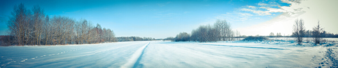 Türaufkleber Pool Beautiful winter landscape panorama. Sunset and morning in the cold. New Year's, Christmas stock photo. Snow-covered Siberian species
