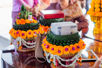 Aluminium Prints Chicken Laos Wedding ceremony : The dowry used in weddings is arranged in a fresh floral tray.