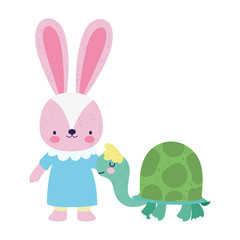 baby shower cute little female rabbit and turtle cartoon