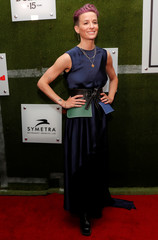 U.S. soccer player Megan Rapinoe poses as she arrives for Sports Illustrated Sportsperson of the Year Awards in New York