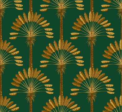 Ornament of Golden palm trees on a green background. Drawing art Deco 20s of the 20th century.