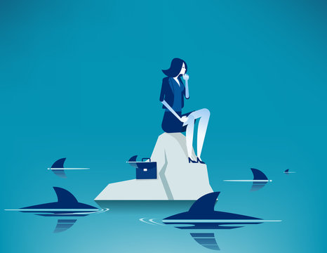 Woman on sea surrounded by sharks. Concept business anxiety vector illustration, Trapped