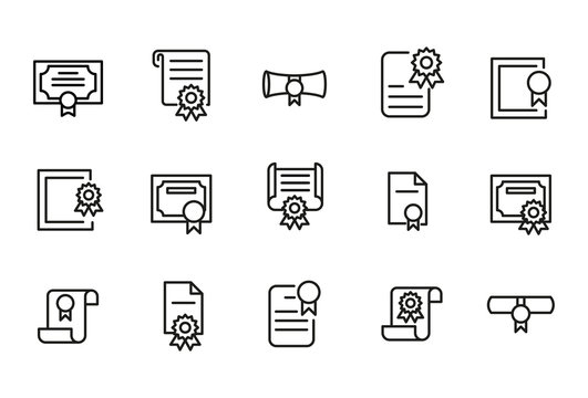 Stroke line icons set of diploma.
