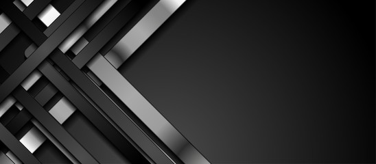 Fotobehang - Black and silver metallic smooth stripes abstract corporate graphic design. Geometric dark material background. Vector illustration