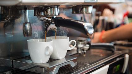 black coffee morning on coffee machine