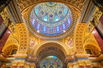 Budapest, Hungary - May 22, 2019 - The interior of St. Stephen's Basilica located on the Pest side of Budapest, Hungary.