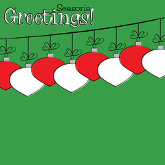 Bright Hand Drawing bauble Christmas card in vector format
